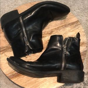 Black faux leather zip up booties